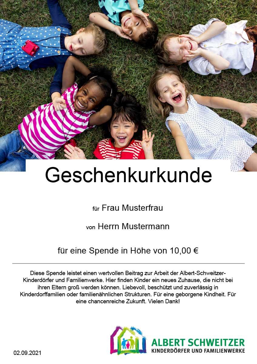 Geschenkurkunde der Albert-Schweitzer-Kinderdörfer und Familienwerke
